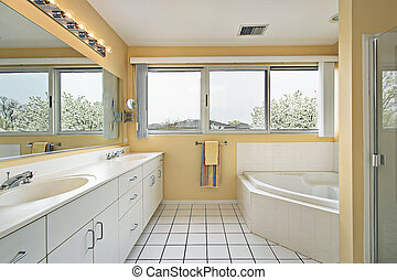 Master bath with yellow walls