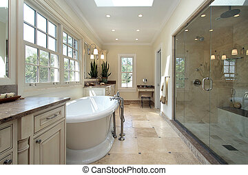 Master bathroom in new construction home with large tub