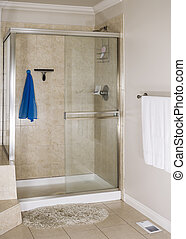 Master Bathroom Shower - Clean master bathroom shower with...