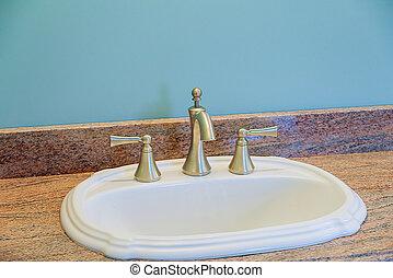 Master bathroom with in sink new apartment renewed bathroom