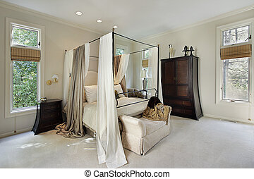 Master bedroom in luxury home with curtains around bed