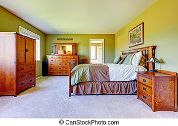 Master bedroom interior in bright green color