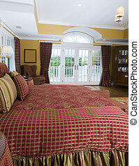 master bedroom with french doors to terrace with view