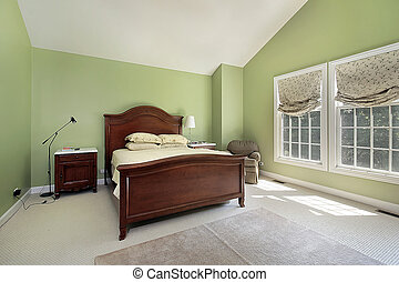 Master bedroom with greenwalls