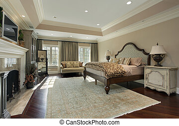 Master bedroom with marble fireplace - Master bedroom in...