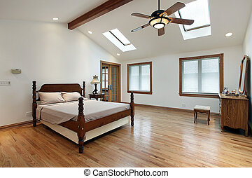 Master bedroom with skylights