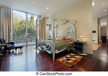 Master bedroom with sliding doors to patio
