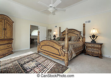 Master bedroom with wood furniture
