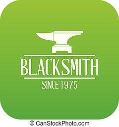 Master blacksmith icon green vector