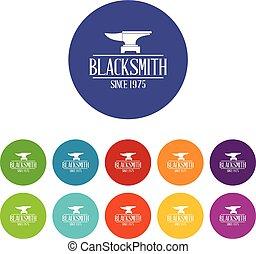 Master blacksmith icons set vector color