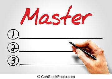 MASTER blank list, education concept