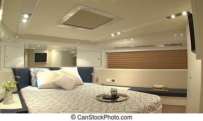 Master cabin on yacht