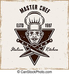 Master chef head and knives vector cooking emblem