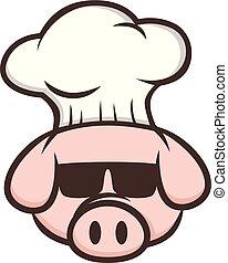 master chef pig pork bacon theme cartoon vector