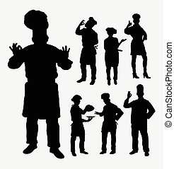 Master chef silhouettes - Master chef hobby and profession...