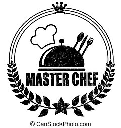 Master chef stamp - Master chef grunge rubber stamp on...