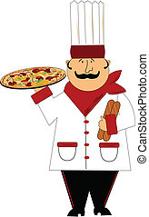 master chef - master pizza chef holding large all dressed...