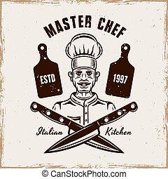 Master chef vector cooking emblem, badge or logo