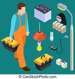 Master electrician and tools isometric vector set