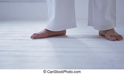 Master Feet In Kimono - Tall Karate Master Standing Middle...