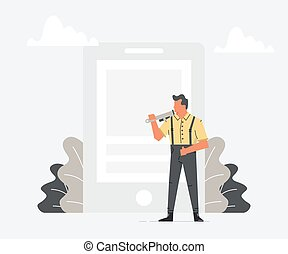 Master in work clothes with a spanner is repair big smartphone. Man repairing broken mobile phone. Vector illustration of a flat design.
