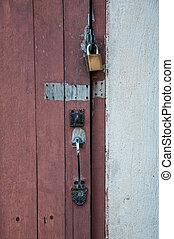 master key on old wooden door