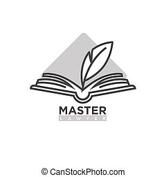 Master lawyer company logotype. Open book with feather pen