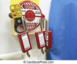 Master lock with key retaining, safety padlock for electrical equipment, Machine locker.