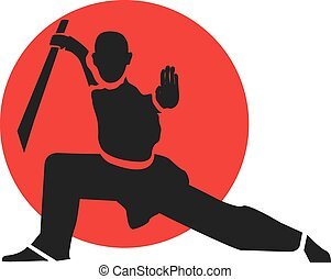 Master of wushu with sword. LOgo design template. Vector illustration.