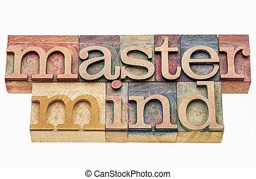 master mind banner in letterpress wood type printing blocks...