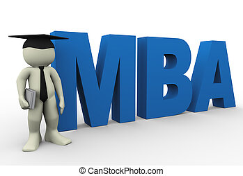Master of business administration - 3d render of man with...