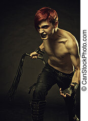 Master of endless pain - Redhead angry gothic man with lash...