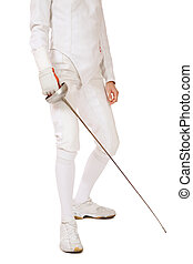 Body of slim girl in fencing costume with sword in hand over white background