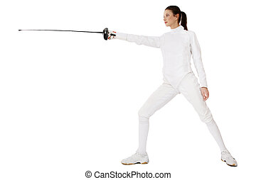 Master of fence - Slim girl in fencing costume with sword in...