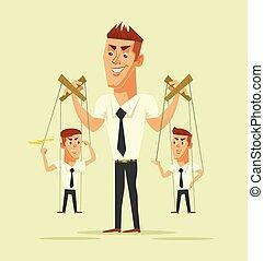 Master of puppets. Vector flat cartoon illustration