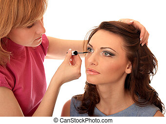 make-up - Master of style does to the beautiful girl of...