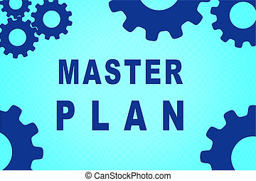 MASTER PLAN sign concept illustration with blue gear wheel figures on pale blue gradient background