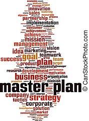 Master plan word cloud concept. Vector illustration