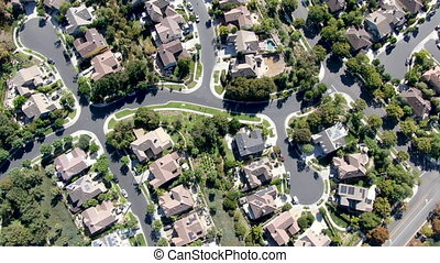 Aerial top view of master-planned community and census-designated Ladera Ranch, South Orange County, California. Large-scale residential neighborhood