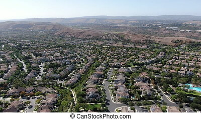 Aerial view of master-planned community and census-designated Ladera Ranch, South Orange County, California. Large-scale residential neighborhood