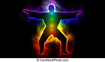 Master with aura and chakras - taichi, kungfu, judo, karate,...