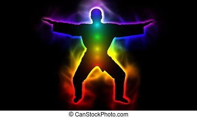 Master with aura and chakras - taichi, kungfu, judo, karate, taekwondo