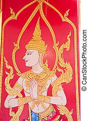 masterpiece of traditional Thai style painting art old about Bud