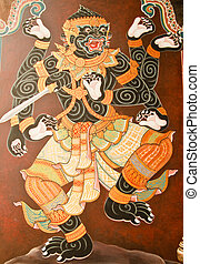 Masterpiece of traditional Thai style painting art on temple...