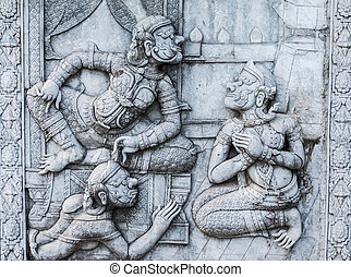 masterpiece of traditional Thai style stucco art old about Ramay