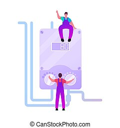 Masters Characters Make Installation of Smart Heater, Home Electric Heating System. Workers Handymen in Overalls Setting Up Equipment and Wires Home Climate Control. Cartoon People Vector Illustration