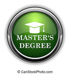 Master's degree icon. Master's degree website button on white background