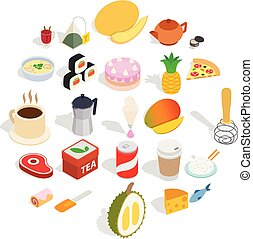 Mastery of cooking icons set, isometric style - Mastery of...