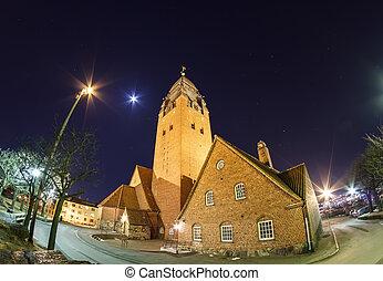 masthugget, 教堂, 在, the, 夜晚天空