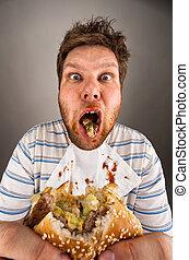 mastication, hamburger, sale, homme